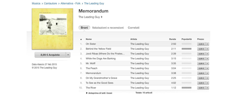 Leading Guy, Memorandum, indie, iTunes, single, folk, songwriter